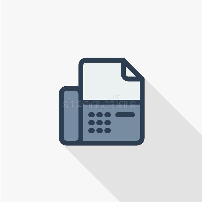 Telefoon, de telefoon dunne lijn van het faxbureau vlak pictogram Het lineaire vectorontwerp van de symbool kleurrijke lange scha royalty-vrije illustratie