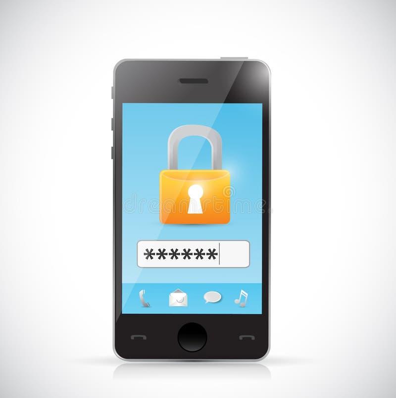 Telefoon de veilige login illustratie van het beschermingsconcept royalty-vrije illustratie