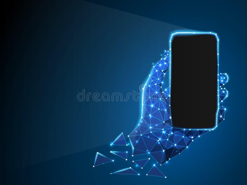 Telefoon in een hand Abstract 3d neon Veelhoekig Vectortechnologieconcept apparaat, gadget, smartphone lage poly vector illustratie