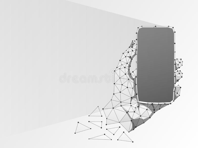 Telefoon in een hand Abstracte 3d origami Veelhoekig Vectortechnologieconcept apparaat, gadget, smartphone lage poly vector illustratie