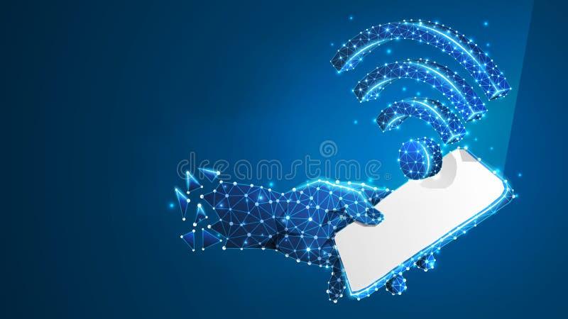 Telefoon in een hand met WiFi-symbool op het witte mobiele scherm De aansluting van Internet concept Digitale samenvatting, wiref vector illustratie