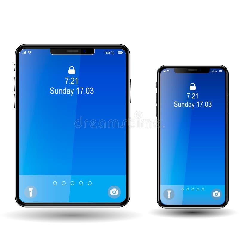 Telefoon en Tablet, het Blauwe Scherm royalty-vrije illustratie