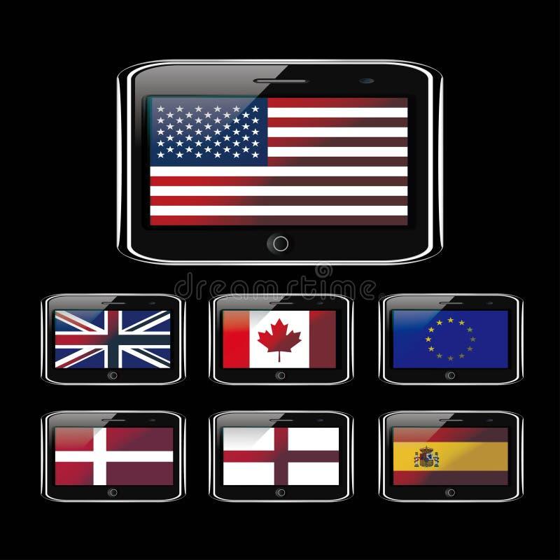Telefoon en vlag stock illustratie