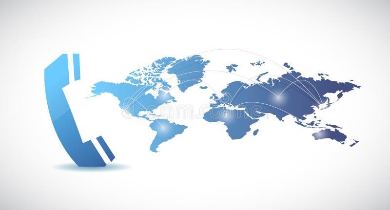 Telefoon en wereld het ontwerp van de kaartillustratie vector illustratie