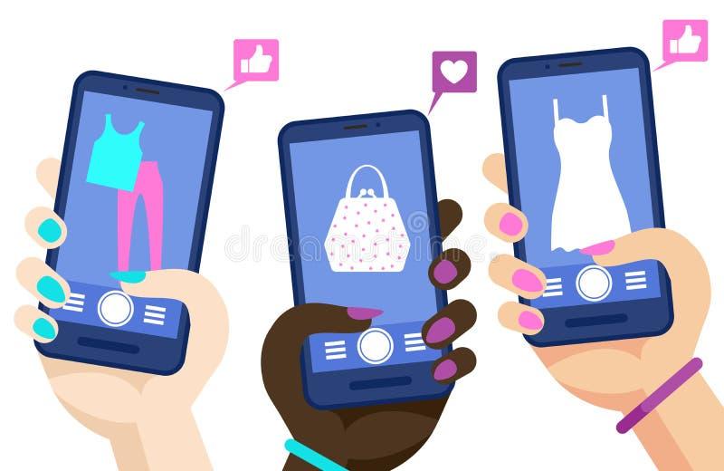 Telefoon het winkelen online vectorconcept Handen die smartphones met sociale media marketig pagina'sillustratie houden vector illustratie