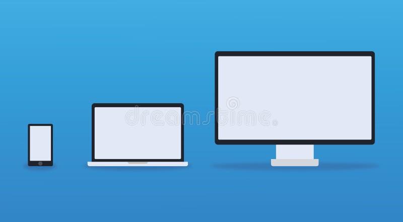 Telefoon, laptop, Desktop stock fotografie