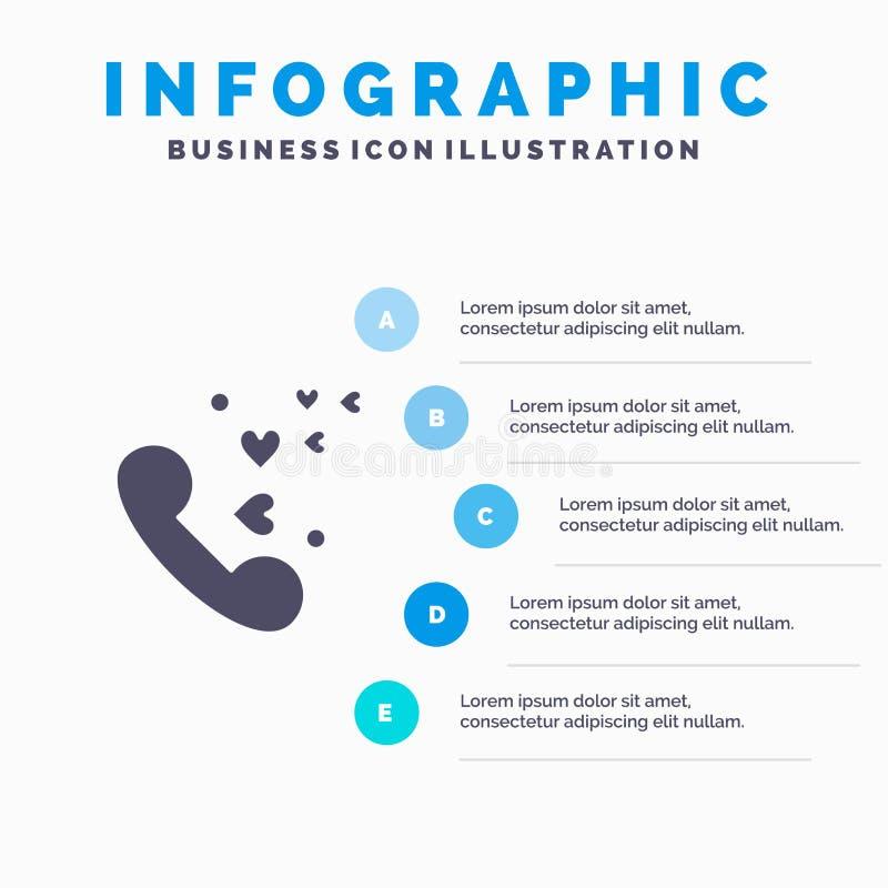 Telefoon, Liefde, Hart, Huwelijks Stevig Pictogram Infographics 5 de Achtergrond van de Stappenpresentatie stock illustratie