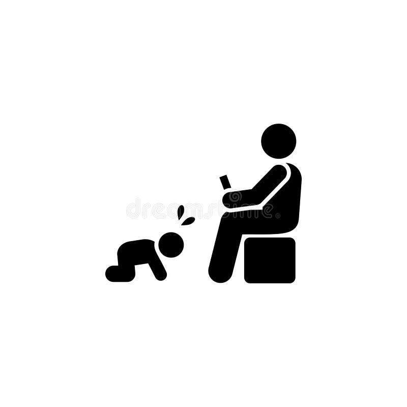 Telefoon, mens, baby, schreeuwend pictogram Element van ouderpictogram Grafisch het ontwerppictogram van de premiekwaliteit Teken vector illustratie