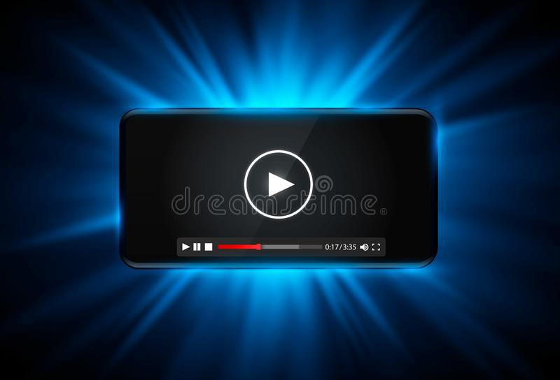 Telefoon met het zwart scherm, Betalersvideoframe op de witte achtergrond stock illustratie