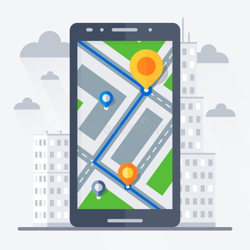 Telefoon met mobiele gps navigatie royalty-vrije illustratie