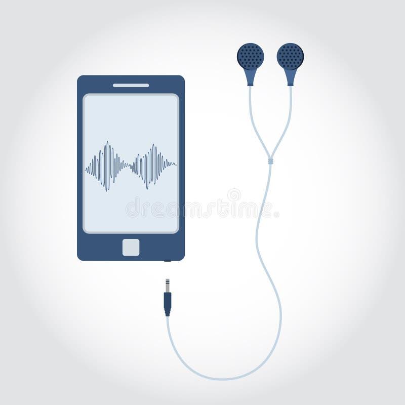 Telefoon met oortelefoon vector illustratie