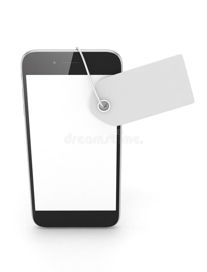 Telefoon met prijskaartje het 3d teruggeven royalty-vrije illustratie
