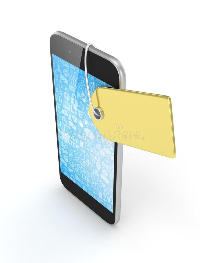 Telefoon met prijskaartje het 3d teruggeven vector illustratie