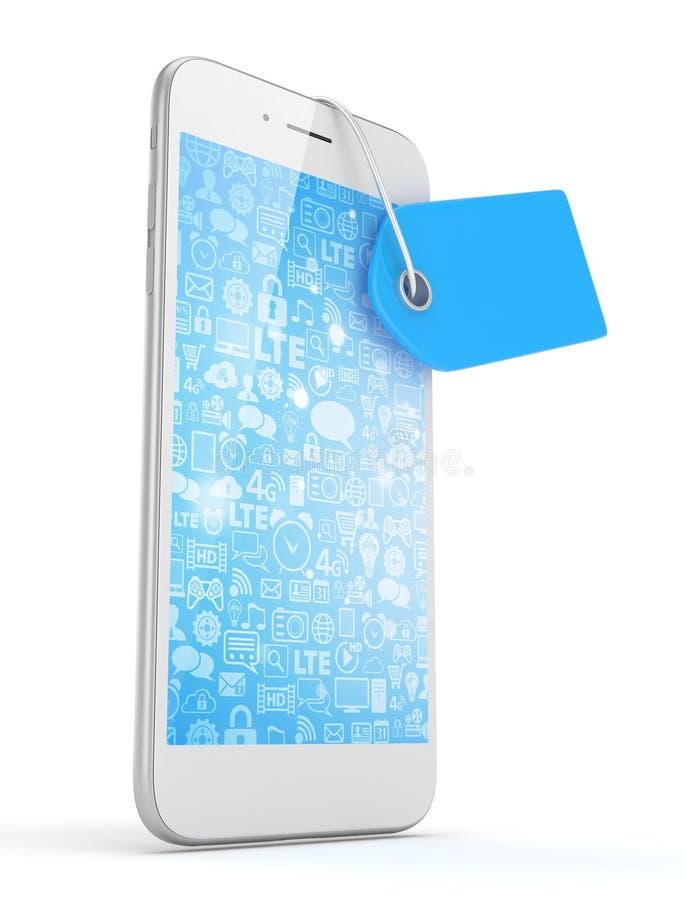 Telefoon met prijskaartje het 3d teruggeven stock illustratie