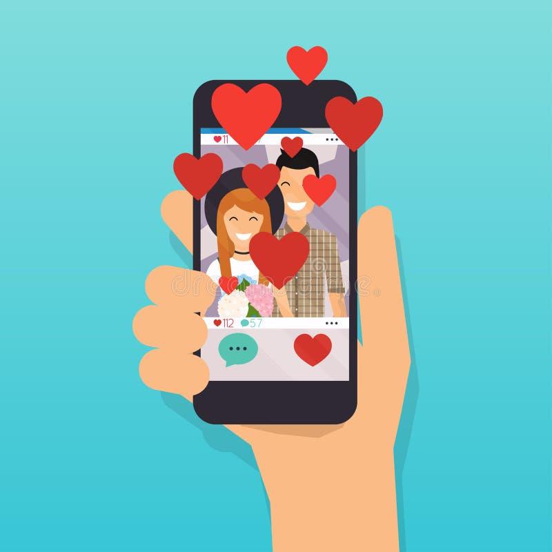 Telefoon met sociale media app Liefdeknoop Sociale netwerkvector royalty-vrije illustratie