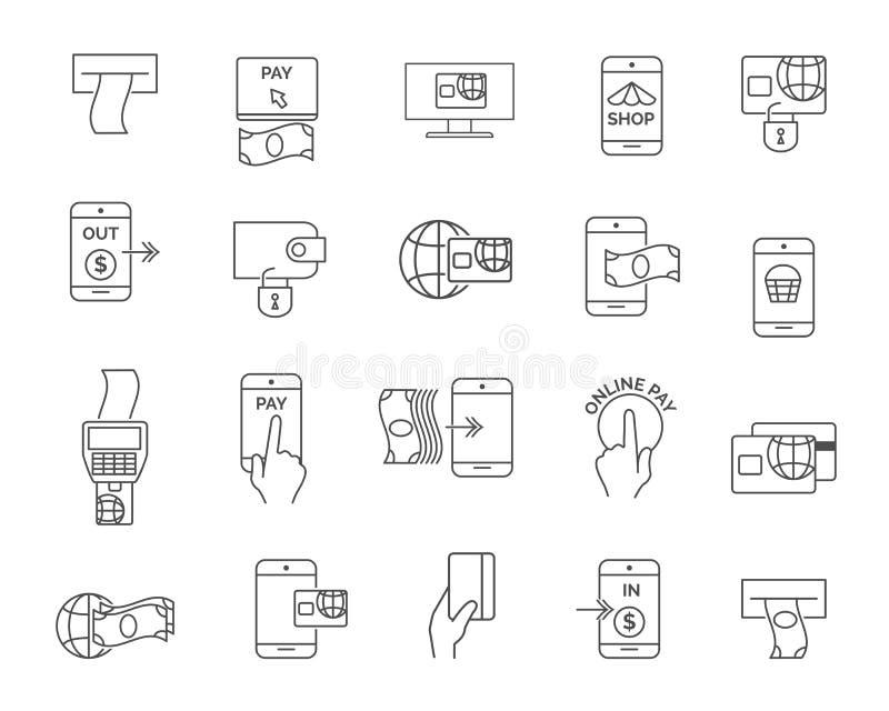 Telefoon of mobiele betaling, terminal en kaart die betalend lijnpictogrammen winkelen Betaal online vectortekens stock illustratie
