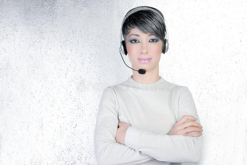 Telefoon van de vrouwenhoofdtelefoons van de hoofdtelefoon de zilveren futuristische royalty-vrije stock foto