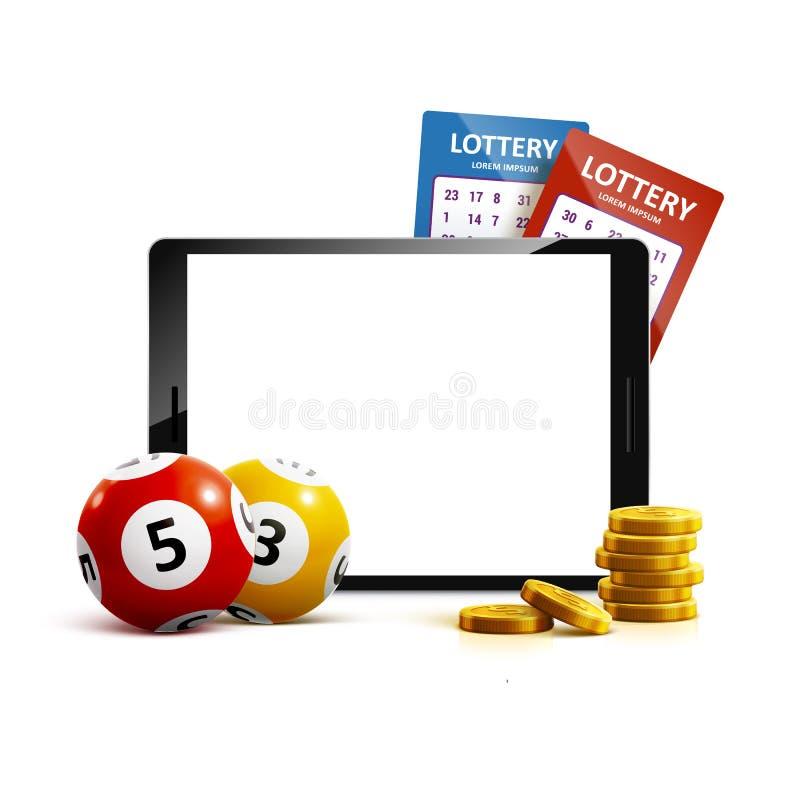 Telefoon van het de ballenkaartje van het loterij 3d pictogram op witte vector stock illustratie