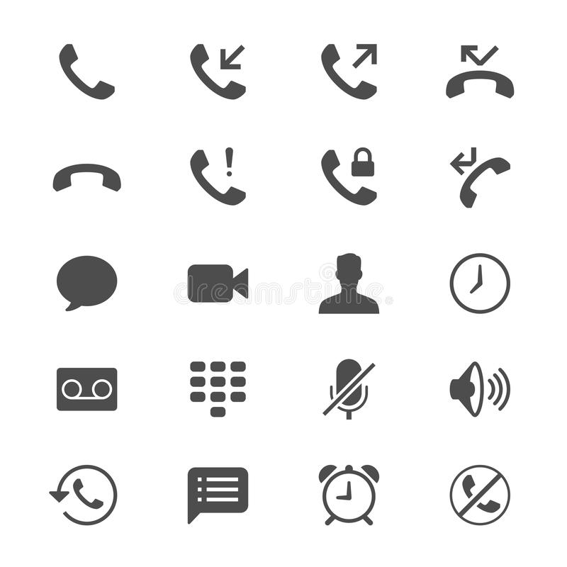 Telefoon vlakke pictogrammen royalty-vrije illustratie