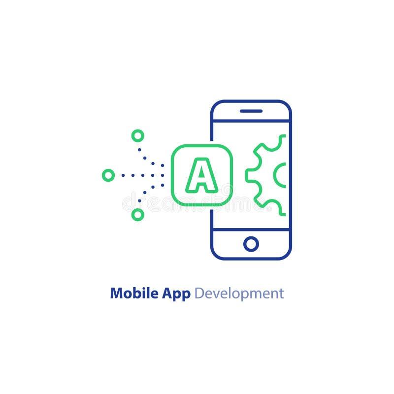 Telefoonapp verbetering en verbetering, mobiele technologie, lijnpictogram vector illustratie