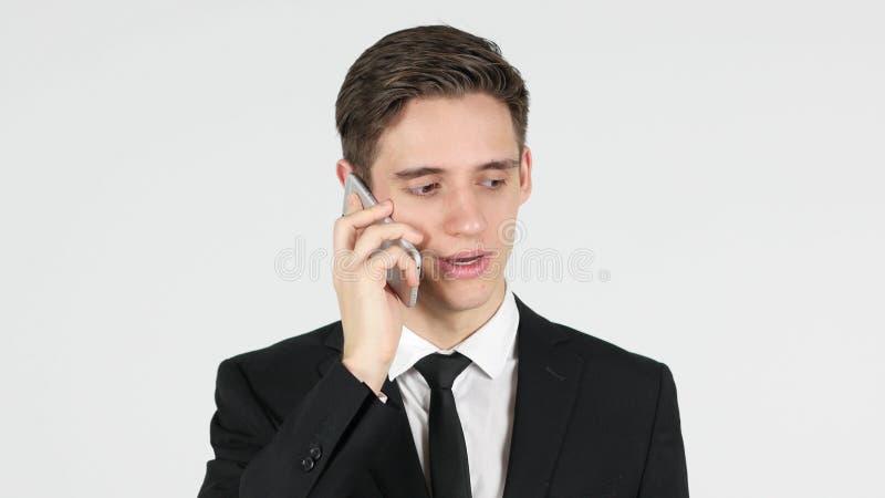 Telefoonbespreking, Zakenman Answering Call royalty-vrije stock afbeeldingen