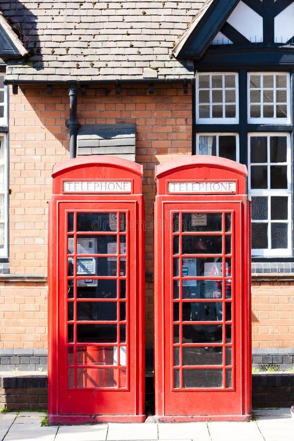 telefooncellen, stratford-op-Avon, Warwickshire, Engeland royalty-vrije stock foto