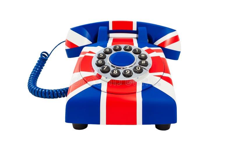 Telefoonclose-up Britse telefoon Union Jack-telefoon met patroon van Britse die vlag op witte achtergrond wordt geïsoleerd royalty-vrije stock fotografie