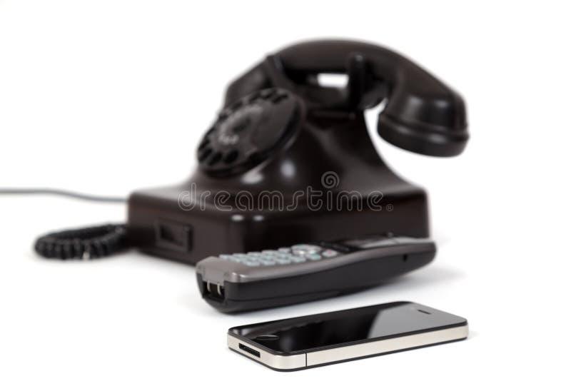 3 telefoongeneraties stock foto's