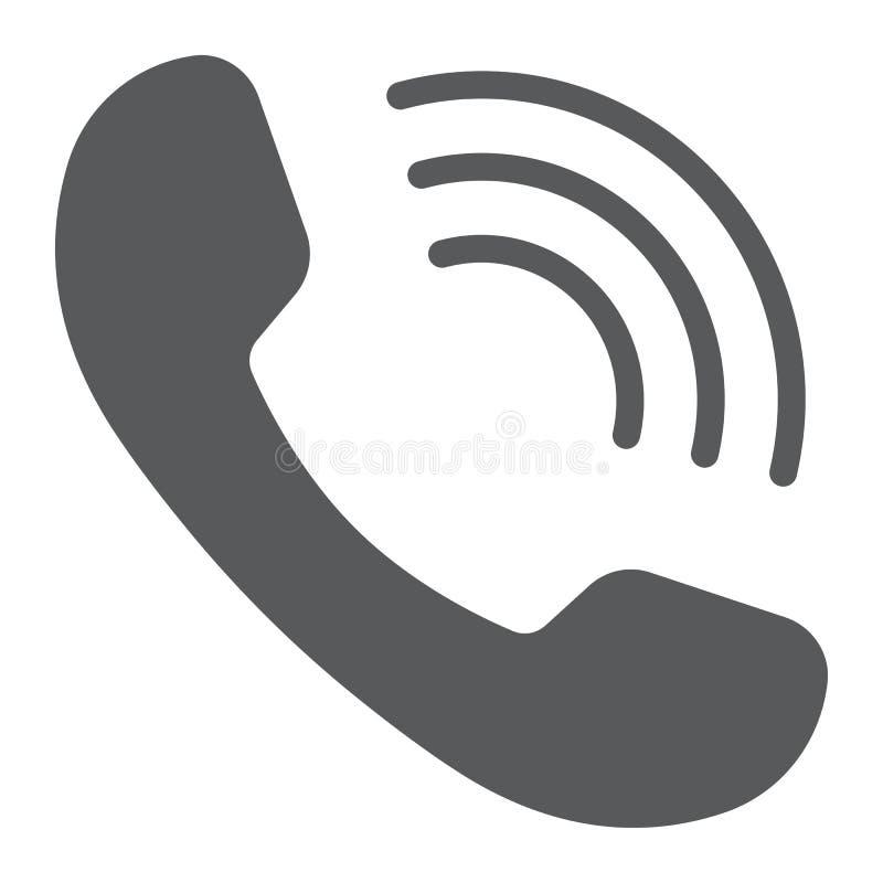 Telefoongesprek glyph pictogram, mededeling royalty-vrije illustratie