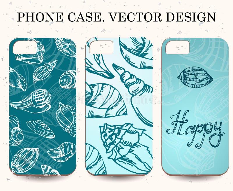 Telefoongeval Uitstekende vectorachtergrond Decoratieve shell elementen vector illustratie