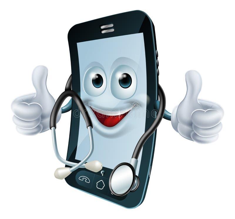 Telefoonmens met een stethoscoop royalty-vrije illustratie
