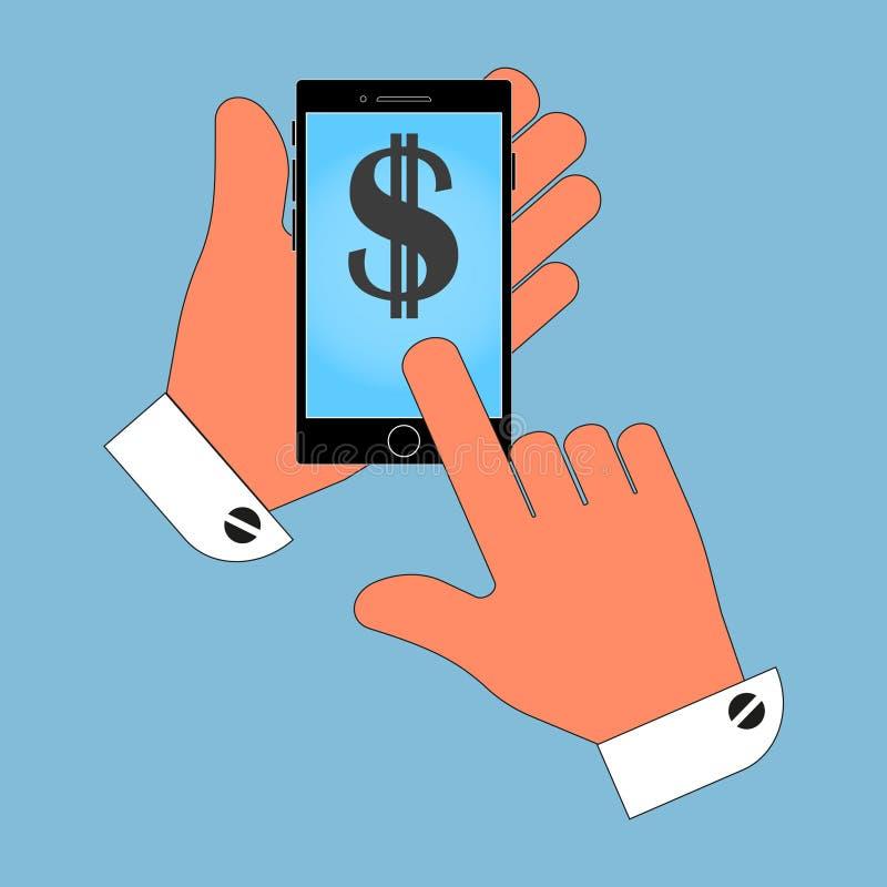 Telefoonpictogram in de hand, met het Amerikaanse dollarsymbool op het scherm, isolatie op een blauwe achtergrond stock illustratie