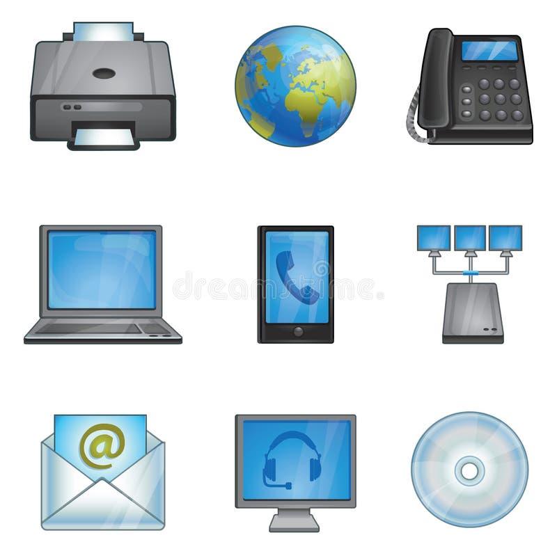 Telefoons, printer, aansluting, netwerk stock illustratie
