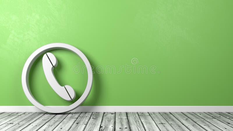 Telefoonsymbool tegen Muur met Copyspace vector illustratie