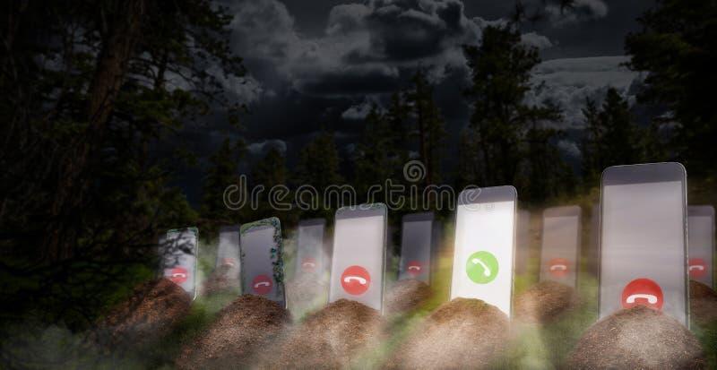 Telefoonverslaving zelfs daarna dood stock afbeelding