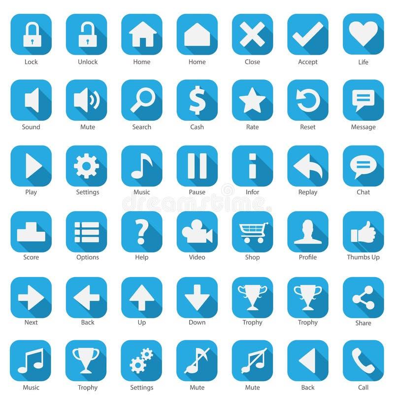 Telefoonweb Internet Blauwe Pictogramreeks royalty-vrije illustratie
