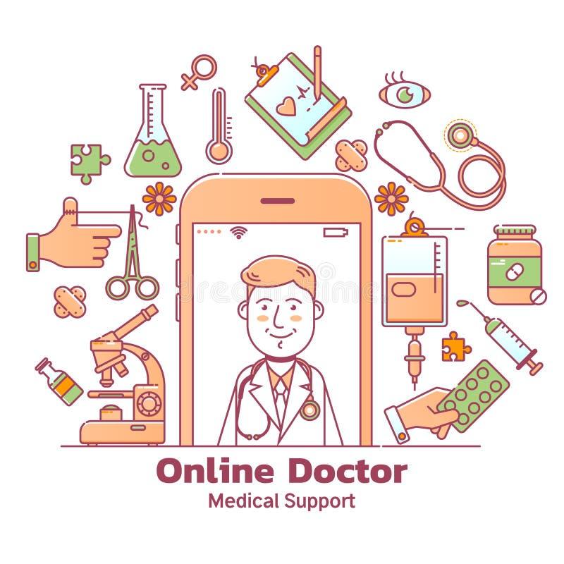 Telegeneeskunde en online artsenoverleg met vector het conceptenillustratie van gezondheidszorgpictogrammen royalty-vrije illustratie