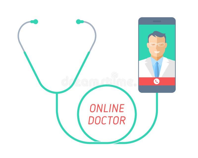 Telegeneeskundeconcept Stethoscoop met mobiele telefoon, arts op t vector illustratie