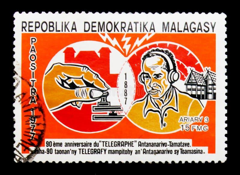Telegrafia, Telekomunikacyjny seria około 1977, obrazy stock