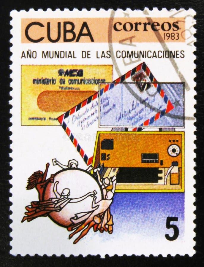 Telegram och flygpost kuvert och U P U emblem serie för världskommunikationsår, circa 1983 royaltyfri foto