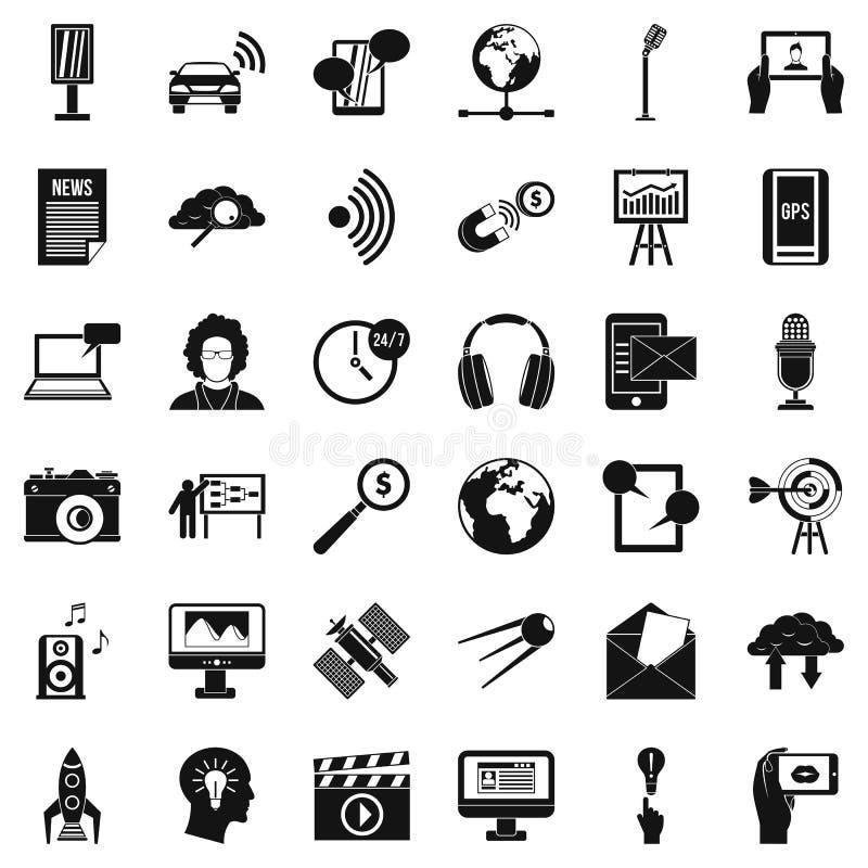Telegrambyråsymbolsuppsättning, enkel stil royaltyfri illustrationer