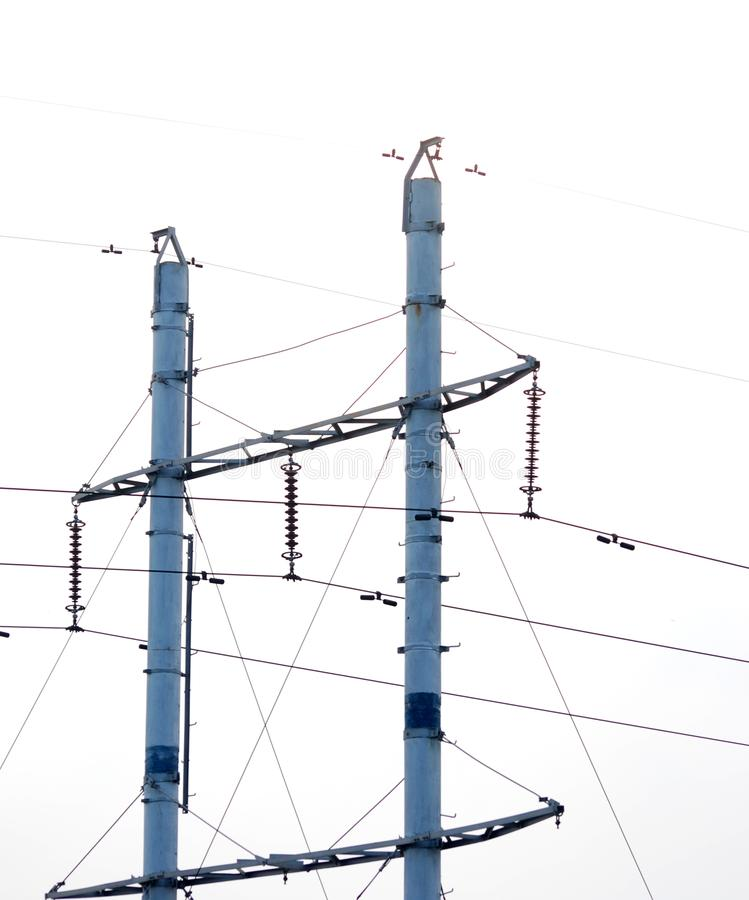 Telegraph pole. Close up of a telegraph pole with wires and insulators stock image