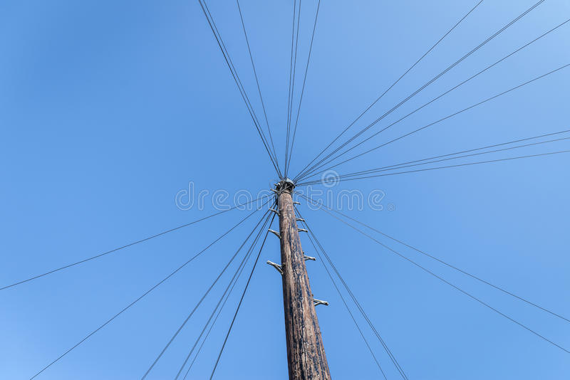 Telegraph pole. View from the bottom royalty free stock images