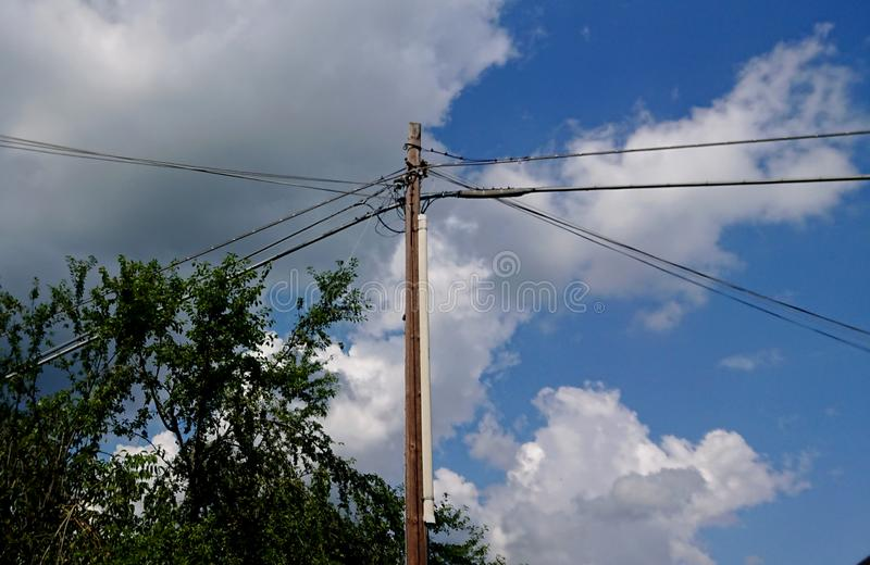 Telegraph Pole and Wires. Poles, telephone royalty free stock images