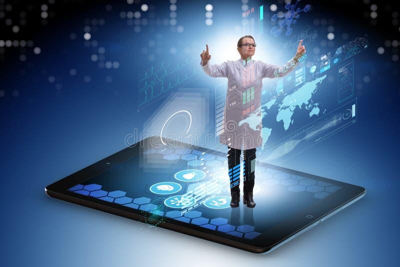 Telehealthbegreppet med doktorn som gör den avlägsna kontrollen-upp royaltyfri illustrationer
