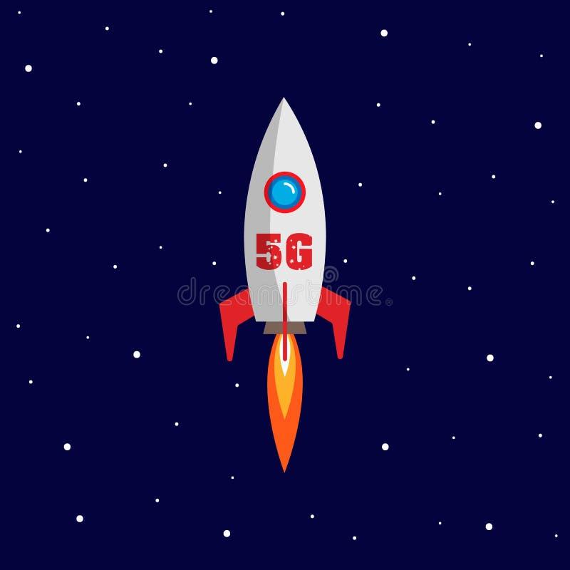 Telekommunikation des Konzeptes 5g mit Rakete und schnellem Versenden Illustration Vektor lizenzfreie abbildung