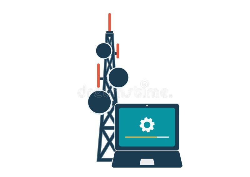 Telekommunikation och trådlöst anslutningsteknologibegrepp vektor illustrationer