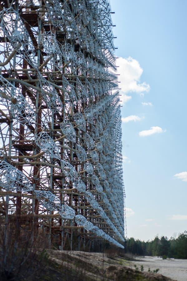 Telekommunikationradiomitt i Pripyat, Tjernobyl område som är bekant som 'bågen 'eller 'Duga ', royaltyfria foton