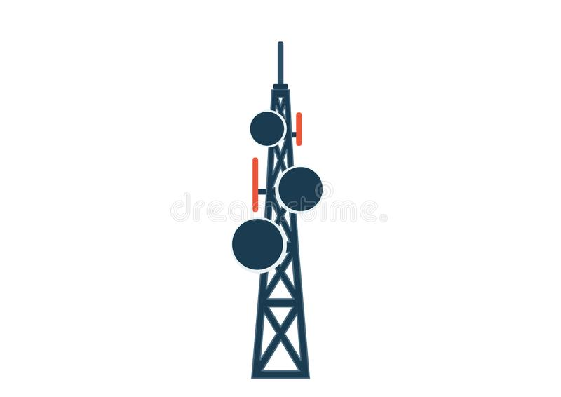 Telekommunikationtorn med antenner isolerad bild royaltyfri illustrationer