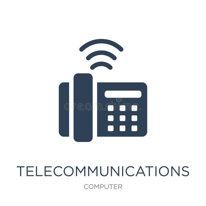 telekomunikacji ikona w modnym projekta stylu telekomunikacji ikona odizolowywająca na białym tle telekomunikacje wektorowe ilustracji